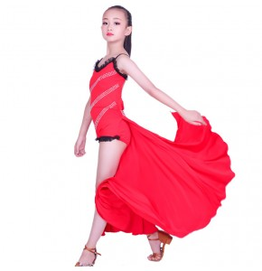 Girls latin dresses for children kids  tuxedo long length modern dance party show stage performance costumes