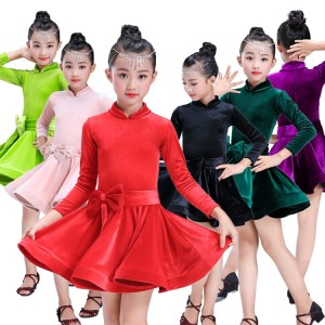 Girls latin dresses green purple red pink competition stage performance ballroom dress  salsa rumba chacha dancing long sleeves costumes