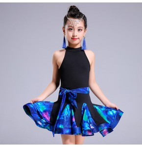 Girls latin dresses kids children royal blue floral competition salsa chacha rumba dancing costumes