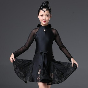 Girls latin dresses lace black long sleeves children stage performance ballroom salsa rumba samba competition dress