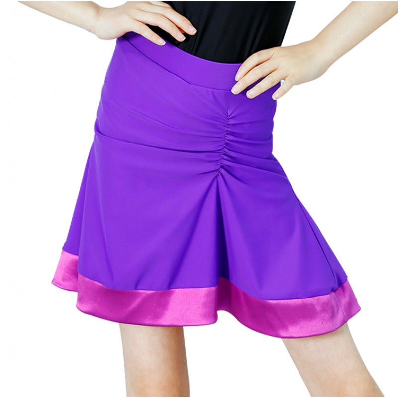 Girls latin dresses purple green competition stage performance ballroom chacha rumba dancing leotards skirt