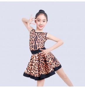 Girls leopard latin dresses kids children backless competition exercises stage performance salsa rumba chacha dancing costumes