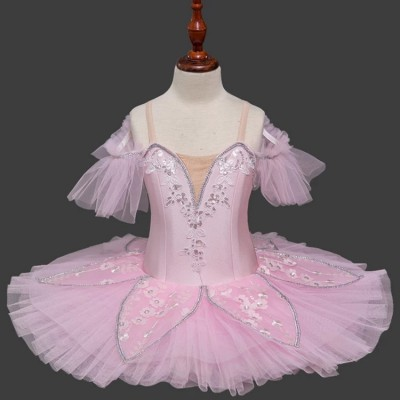 Girls light pink classical ballet dance dresses kids swan lake tutu skirts competition dance costumes stage performance dresses
