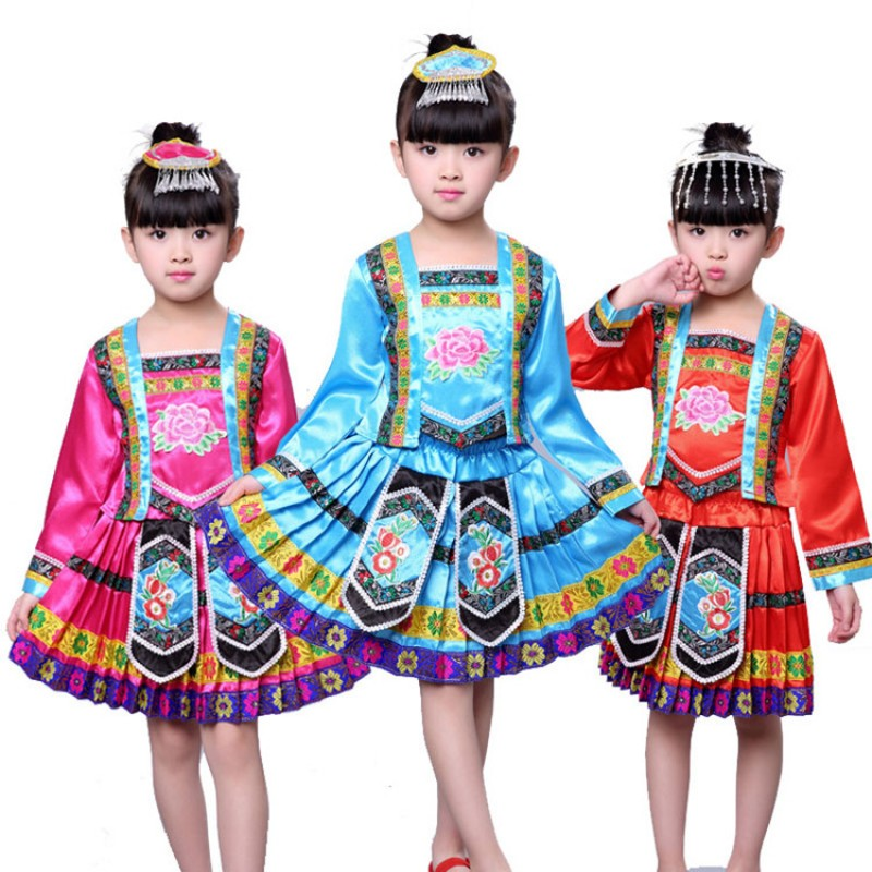 Girls miao Hmong Chinese folk dance dresses stage performance drama cosplay costumes with head piece