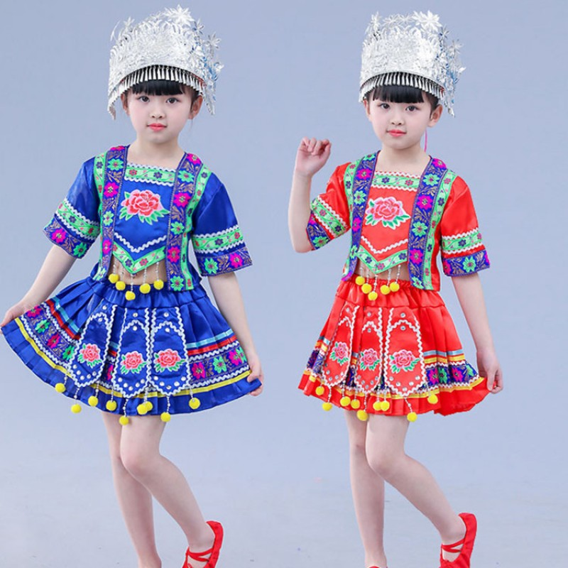Girls miao hmong dance costumes red blue yellow kids chinese folk dance costumes dresses