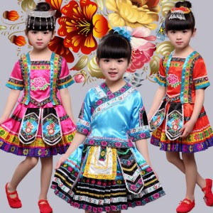 Girls miao hmong stage performance dresses for kids Chinese folk dance costumes