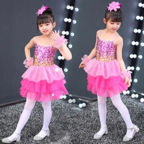 9ee28795c ... Girls modern dance jazz dance dress sequin ballet dress Costumes de  danse jazz filles singers chorus