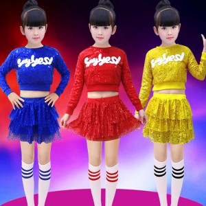 Girls modern dance jazz stage performance costumes paillette cheerleaders gold blue hiphop street gogo dancing dress for girls