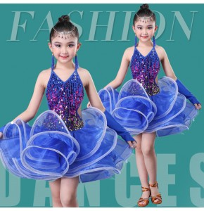 Girls modern dance latin dresses children blue sequins jazz singer stage performance modern dance costumes dress