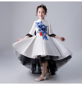 Girls modern dance model show performance Chinese dresses  for children singer chorus piano performance tailing qipao cheongsame dresses