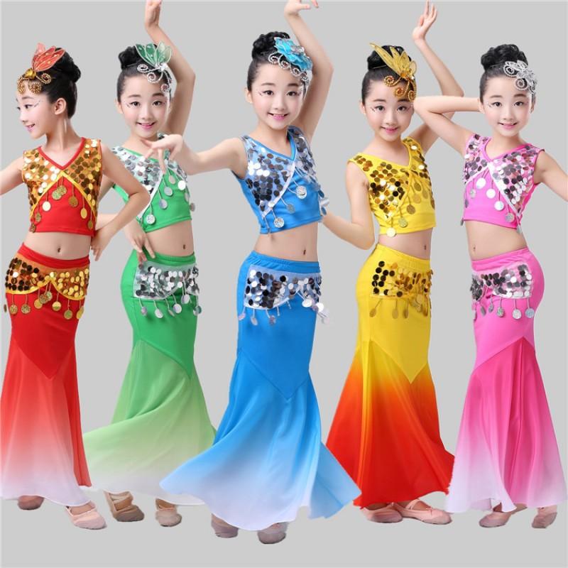 ece53a05d Girls modern dance peacock dance dresses kids children costumes stage  performance children mermaid dresses