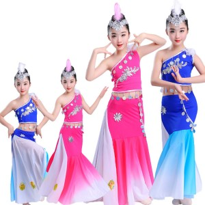 Girls modern dance peacock royal blue fuchsia  photos  stage performance photos cosplay dancing dresses costumes outfits