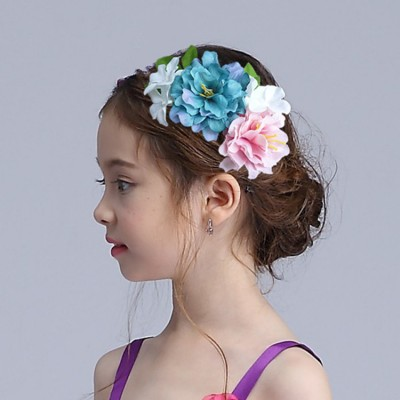 Girls modern dance stage performance chrous singers party show flowers girls cosplay photos headdress hair flowers
