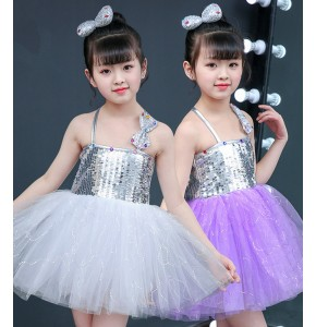Girls modern jazz dance princess dresses silver violet singers host stage performance costumes dress