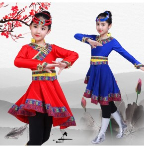 Girls Mongolian dance costumes kids chinese folk dance dresses traditional horse dance robes costumes