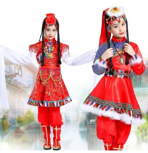 Girls Mongolian dance costumes traditional Chinese folk dance stage performance drama cosplay robes dresses