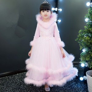 Girls pink color princess jazz singers dresses pianist stage performance chorus dresses fur fleece lining flower girls party cosplay dresses