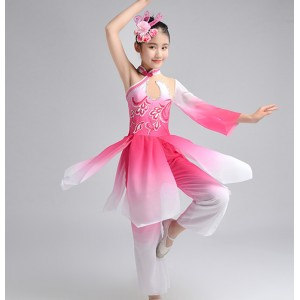 Girls pink flowers chinese folk dance costumes children ancient traditional classical fairy umbrella fan yangko dance dress