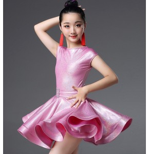 Girls pink silver latin dance dresses modern dance stage performance salsa rumba chacha dance dresses