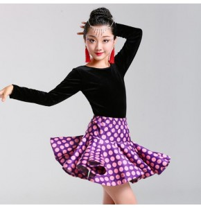 Girls polka dot velvet latin dresses for kids children competition stage performance rumba chacha salsa dance costumes