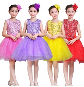 Girls princess dress ballet  modern dance school competition singers jazz cosplay host chorus dresses sequined fluffy skirts costumes