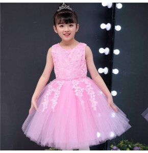 Girls princess jazz singers chorus stage performance dresses lace pink royal blue Christmas new year party modern dancing dresses