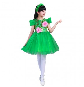 Girls princess jazz singers chorus stage performance dresses modern dance drama grass cosplay dresses