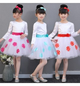Girls princess modern dance dresses chorus stage performance flower girls evening birthday wedding party cosplay dresses