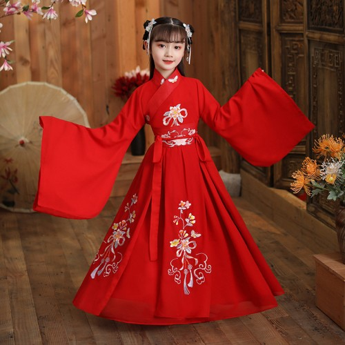 Girls red chinese hanfu dress fairy princess drama movies cosplay dress stage performance photos shooting princess empress dress for kids