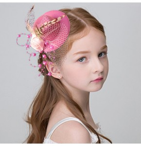 Girls stage performance hair clip hat flower girls evening party cosplay singers chorus dancing mini hat headpiece headdress