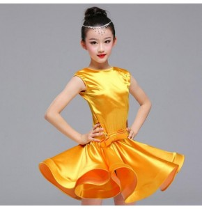 Girls stretchable satin latin dresses kids  children  gold stage performance competition salsa chacha rumba dance dresses