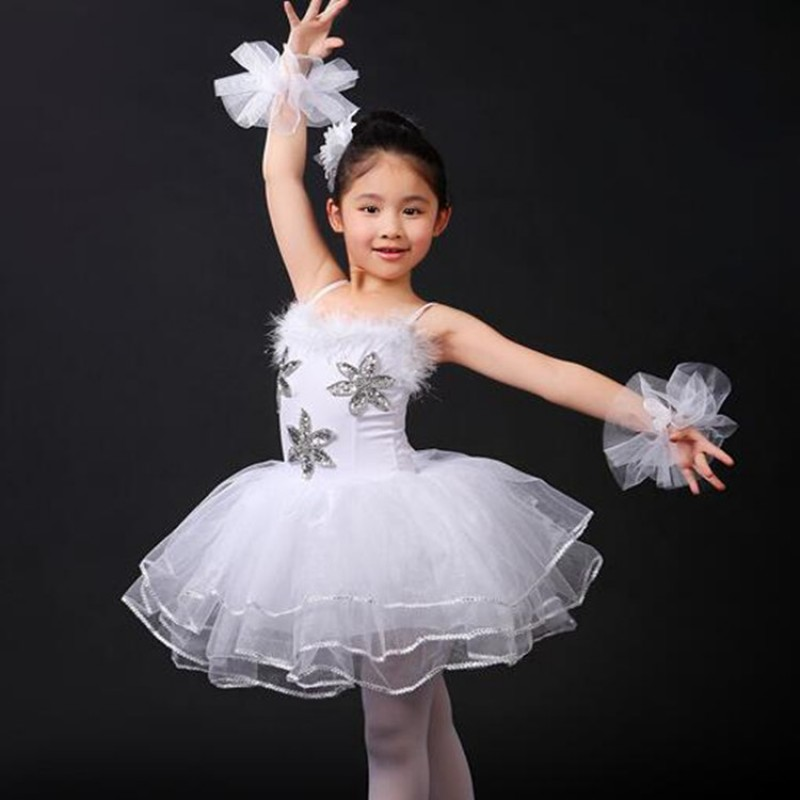 9e1841e31 Girls swan lake ballet dresses kids children white color modern dance stage  performance photos party competition tutu dresses- Material :polyester  Content ...