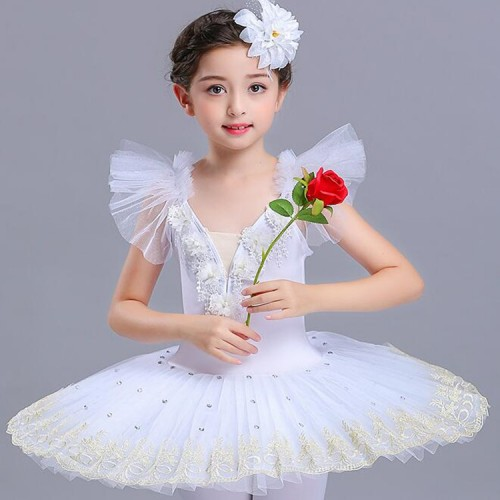 Girls swan lake ballet dresses tutu skirt white red light pink competition stage performance professional dancing costumes
