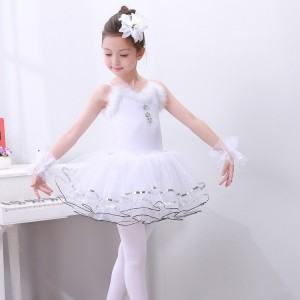 Girls  swan white lake ballet dresses competition stage performance tutu skirt cosplay dress