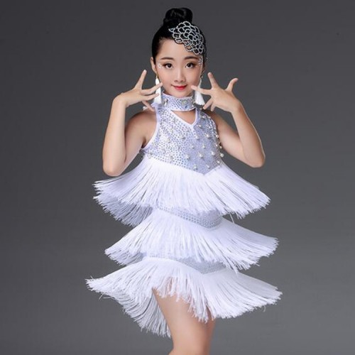 Girls tassels latin dance dresses modern dance children  white colored fairy beads rhinestones cosplay latin dance costumes