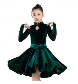Girls velvet latin dance dresses dark green black purple school competition stage performance ballroom salsa rumba dance dresses