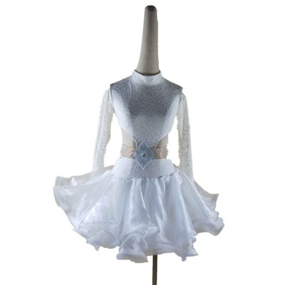 Girls white lace ballroom dresses long sleeves diamond competition stage performance salsa rumba chacha samba dancing costumes