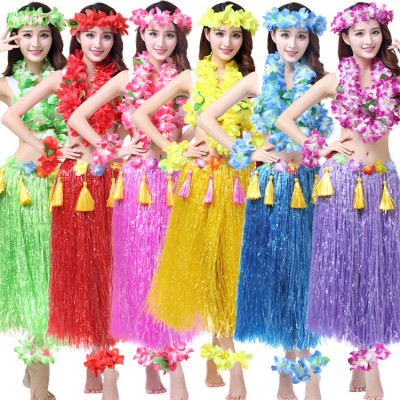 girls Woman Hawaiian Hula dance thickened grass Skirts Hula Grass costumes beach party performance costumes