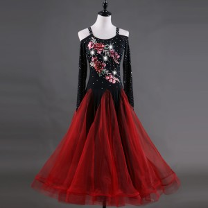Girls women ballroom dancing dresses modern dance embroidered pattern long length flamenco waltz tango dancing skirt dresses