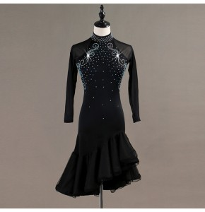 Girls women's ballroom latin dancing dresses rhinestones competition stage performance rumba chacha salsa dancing skirt dresses