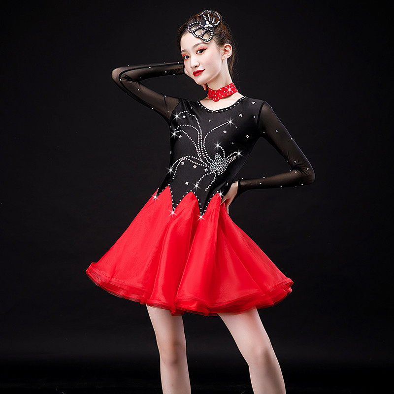 Girls women's rhinestones black with red latin dance dress competitions salsa chacha dance dress