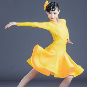 Girls yellow hot pink competition latin dance dresses stage performance latin dance skirts ballroom dance dress for kids