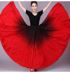 Gradient Color Flamenco Belly Dance Skirt Ladies Stage Performance Wear Red Chinese Traditional Dance Costumes long length skirts
