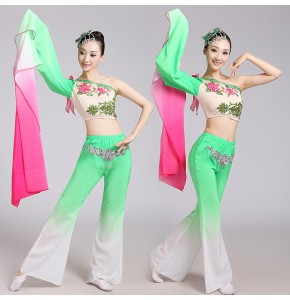 Green fuchsia gradient Chinese Traditional Tang Dynasty Ancient Costume Women  Dress Chinese Fairy Dresses dance costume