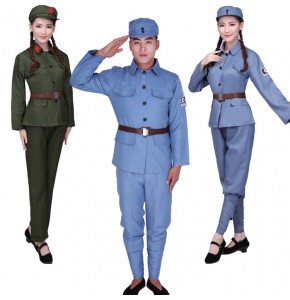 Green Red Army Drama performance Eighth Route Army war liberation of men and women Red Guards costumes dance uniforms chorus costumes