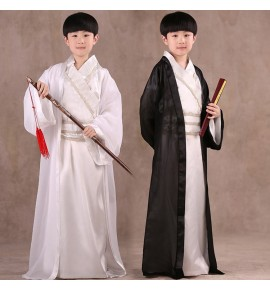 Hanfu boy Chinese folk dance costumes  for boys kids warrior swordsmen Confucius school drama cosplay robes dresses