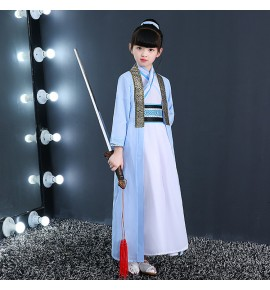 Hanfu boy Chinese folk dance costumes kids ancient traditional dance studio china stage performance drama cosplay dress robes