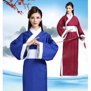 Hanfu Chinese folk dance costumes dramas cosplay kimono for men's warriors China traditional scholar stage performance dresses robes