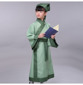 Hanfu chinese folk dance costumes for boy kids traditional Confucius school performance uniforms dress
