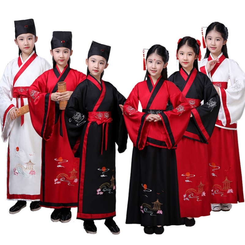 Hanfu chinese folk dance costumes for boys girls kids fairy princess drama kimono performance cosplay robes dresses